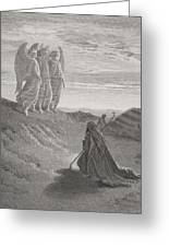 Abraham And The Three Angels Greeting Card by Gustave Dore