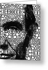 Abraham Lincoln - An American President Stone Rock'd Art Print Greeting Card by Sharon Cummings