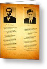 Abraham Lincoln And John F Kennedy Presidential Similarities And Coincidences Conspiracy Theory Fun Greeting Card by Design Turnpike