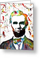 Abraham Lincoln Original Watercolor Painting Greeting Card by Georgeta Blanaru