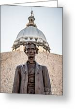 Abraham Lincoln Statue At Illinois State Capitol Greeting Card by Paul Velgos