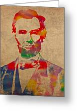 Abraham Lincoln Watercolor Portrait On Worn Distressed Canvas Greeting Card by Design Turnpike