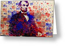 Abraham Lincoln With Flags Greeting Card by Bekim Art