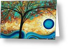 Abstract Art Contemporary Painting Summer Blooms By Madart Greeting Card by Megan Duncanson