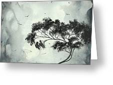 Abstract Art Original Black And White Surreal Landscape Painting Lost Moon By Madart Greeting Card by Megan Duncanson
