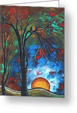 Abstract Art Original Colorful Bird Painting Spring Blossoms By Madart Greeting Card by Megan Duncanson