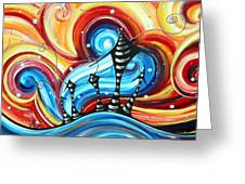 Abstract Art Original Colorful Funky House Painting Home On The Hill By Madart Greeting Card by Megan Duncanson