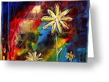 Abstract Art Original Daisy Flower Painting VISUAL FEAST by MADART Greeting Card by Megan Duncanson
