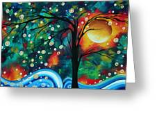 Abstract Art Original Landscape Painting Bold Circle Of Life Design Dance The Night Away By Madart Greeting Card by Megan Duncanson