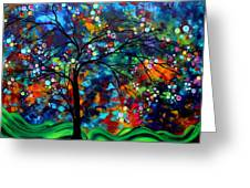 Abstract Art Original Landscape Painting Bold Colorful Design SHIMMER IN THE SKY by MADART Greeting Card by Megan Duncanson