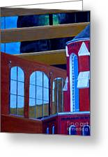 Abstract City Downtown Shreveport Louisiana Urban Buildings And Church Greeting Card by Lenora  De Lude