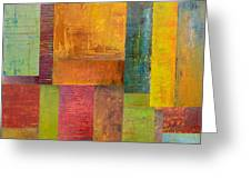Abstract Color Study Collage L Greeting Card by Michelle Calkins