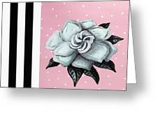Abstract Contemporary Whimsical Pink Painting Gardenia Flower By Madart Greeting Card by Megan Duncanson