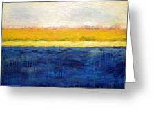 Abstract Dunes With Blue And Gold Greeting Card by Michelle Calkins
