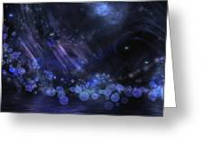 Abstract Fantasy In Black And Blue Greeting Card by Nika Lerman