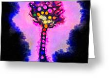 Abstract glowball tree Greeting Card by Pixel Chimp
