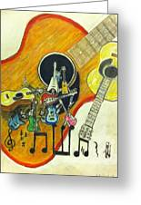 Abstract Guitars Greeting Card by Larry Lamb