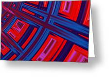 Abstract in Red and Blue Greeting Card by John Edwards