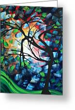 Abstract Landscape Art Original Colorful Painting Tree Maze By Madart Greeting Card by Megan Duncanson