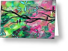 Abstract Landscape Bird and Blossoms Original Painting BIRDS DELIGHT by MADART Greeting Card by Megan Duncanson