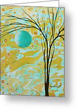 Abstract Landscape Painting Animal Print Pattern Moon And Tree By Madart Greeting Card by Megan Duncanson