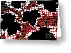 Abstract Leaf Pattern - Black White Red Greeting Card by Natalie Kinnear