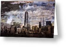 Abstract Manhattan Skyline Greeting Card by Dan Sproul