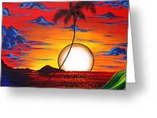 Abstract Surreal Tropical Coastal Art Original Painting Tropical Resonance By Madart Greeting Card by Megan Duncanson