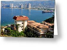 Acapulco Bay Architecture Greeting Card by Linda Phelps