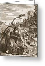 Achelous In The Shape Of A Bull Greeting Card by Bernard Picart