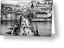 Across The Charles Bridge Greeting Card by John Rizzuto
