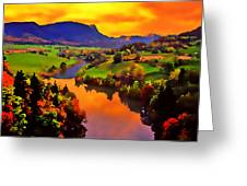 Across The Valley Greeting Card by Stephen Anderson
