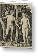 Adam And Eve Greeting Card by Aged Pixel