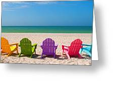 Adirondack Beach Chairs for a Summer Vacation in the Shell Sand  Greeting Card by ELITE IMAGE photography By Chad McDermott