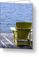 Adirondack Chair On Dock Greeting Card by Olivier Le Queinec