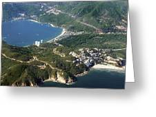 Aerial  of Acapulco Bay Mexico from Both Sides Greeting Card by Jodi Jacobson