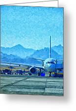 Aeroplane At Airport Greeting Card by Antony McAulay