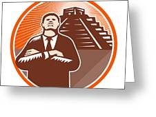 African American Businessman Protect Pyramid Greeting Card by Aloysius Patrimonio