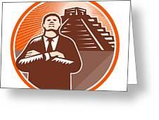 African American Businessman Protect Pyramid Greeting Card by Aloysius Patrimonio