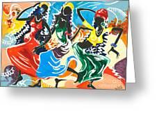 African Dancers No. 2 Greeting Card by Elisabeta Hermann