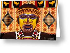 African Tribesman 2 Greeting Card by Bedros Awak