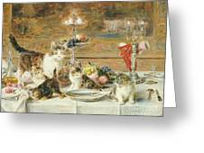 After Dinner Guests Greeting Card by Louis Eugene Lambert