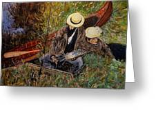 After John Singer Sargent- Paul Cesar Helleu Sketching With His Wife 1889 Greeting Card by Cristina Mihailescu