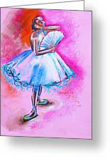 After Master Degas Ballerina With Fan Greeting Card by Susi Franco