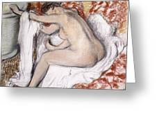 After The Bath Woman Drying Herself Greeting Card by Edgar Degas
