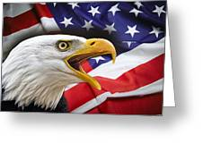 Aggressive Eagle And United States Flag Greeting Card by Daniel Hagerman