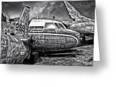 Airplane Graveyard - Black And White Greeting Card by Gregory Dyer