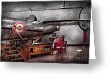 Airplane - The Repair Hanger  Greeting Card by Mike Savad