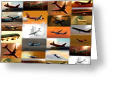 Airplanes Collage Greeting Card by Marcello Cicchini