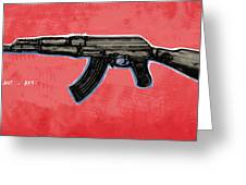 Ak - 47 Gun Pop Art Drawin Poster Greeting Card by Kim Wang